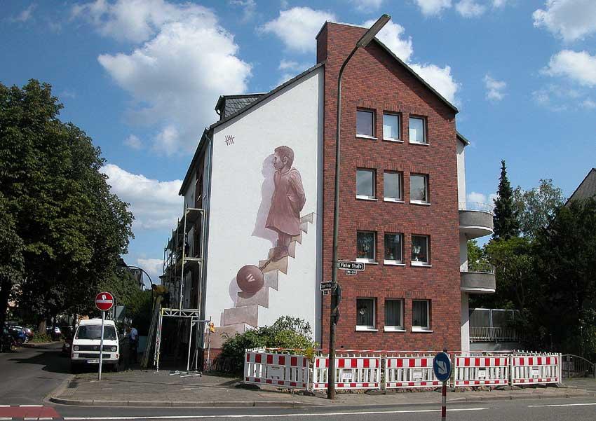 """2009 """"Düsseldorf: Reich und Schön"""" Düsseldorf, Zonserstr./Fleherstr. Künstler Klaus Klinger, Farbfieber e.V."""
