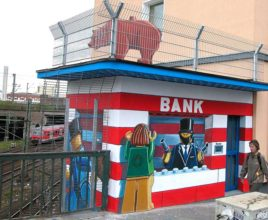 2009 Bad Bank Düsseldorf, Ackerstr.41, Eisenbahnbrücke, Klaus Klinger, Farbfieber e.V.